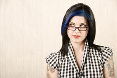 rockabilly逗人喜爱的女孩纵向 免版税库存照片