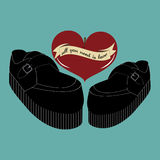 Rockabilly älska par för Retro tappningvektor av skor, hjärta för körsbärsröd blomning, bandbaner, kort för valentindaghälsning Arkivfoto