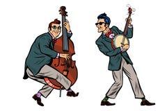 Rockabilly джазовые музыканты, двойной бас и банджо иллюстрация вектора