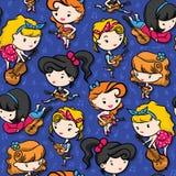 Rockabilly диапазон девушки играя гитару на пурпуре бесплатная иллюстрация