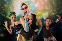Free Rockabilly Chicks With Vintage Microphone Stock Photos - 54801273