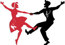 Rockabilly couple dancing silhouette Royalty Free Stock Image