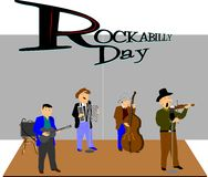 Rockabilly day. Concept background with fiddler Stock Image