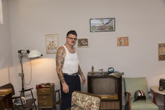 Rockabilly Fan Igor Recek Croatians Stockbild
