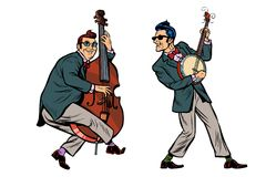 Rockabilly jazz musicians, double bass and banjo. Isolated on white background. Pop art retro vector illustration comic cartoon hand drawing Royalty Free Stock Photo