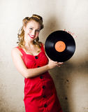 Rockabilly Music Girl Holding Vinyl Record Lp Stock Images