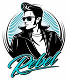 Rockabilly rebel in leather jacket with a fifties hairstyle and sunglasses, vector logo. Rockabilly rebel in leather jacket with a fifties hairstyle and Royalty Free Stock Images