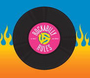 Rockabilly Rules Record Design Royalty Free Stock Photography