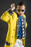 Rockabilly singer from 1950s in yellow jacket. Retro style rockabilly singer from 1950s in yellow jacket Royalty Free Stock Image