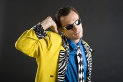 Rockabilly singer from 1950s in yellow jacket Royalty Free Stock Photos