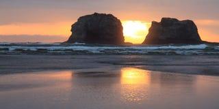 rockaway海滩的全景 库存照片