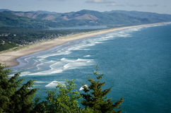 Rockaway Beach, Oregon. Rockaway Beach has seven miles of a sandy shoreline and is one of the most popular vacation destinations in Oregon Stock Photo