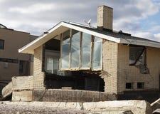 Casa de praia destruída nas consequências do furacão Sandy em Rockaway distante, NY Foto de Stock Royalty Free