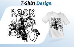 Rockband auf Stadium, von Hand gezeichneter T-Shirt Druck Spott herauf T-Shirt Designschablone Vektorschablone, lokalisiert auf W Lizenzfreie Stockbilder