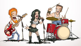Rockband av tre musiker Arkivfoto