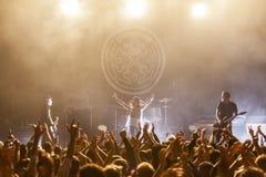 Rockbandlivekonzert auf Stadium Lizenzfreies Stockfoto