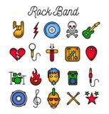 Rockbandsymbolsuppsättning Royaltyfri Bild