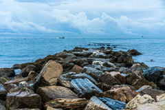 Rockbed kissed by the sea royalty free stock photos