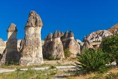 Rockbildande i Cappadocia Turkiet Fotografering för Bildbyråer