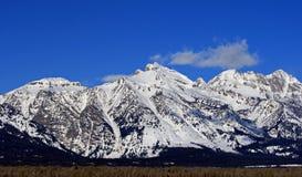 Rockchuck Peak of the Grand Tetons Peaks in Grand Tetons National Park Royalty Free Stock Image