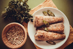 Rockcod with parsley and chilli. Fried shad with chilli, australian fish Royalty Free Stock Photo