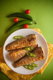 Rockcod with parsley and chilli. Fried shad with chilli, australian fish Stock Photo