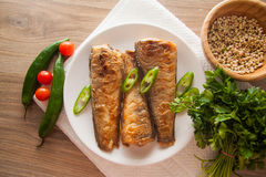 Rockcod on plate. Fried shad with chilli, australian fish Royalty Free Stock Photo