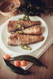Rockcod on plate. Fried shad with chilli, australian fish Stock Image