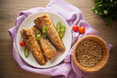 Rockcod on plate. Fried shad with chilli, australian fish Royalty Free Stock Photos
