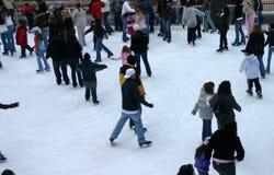 Rockefeller center. Skaters at Rockefeller rink during Christmas, New York Royalty Free Stock Images