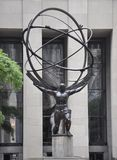 New York City, 2nd July: Rockefeller Center with Atlas Statue details in Manhattan from New York City in United States royalty free stock image