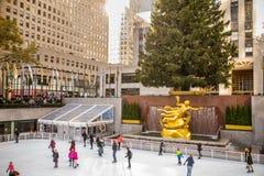 Rockefeller Center Christmas NYC Stock Photo