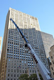 Rockefeller Center Christmas Tree Arrival. NEW YORK - NOVEMBER 12: The arrival and set up of the famous Rockefeller Center Christmas Tree in Rockefeller Center Stock Image