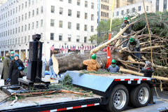 Rockefeller Center Christmas Tree Arrival. NEW YORK - NOVEMBER 12: The arrival and set up of the famous Rockefeller Center Christmas Tree in Rockefeller Center Stock Photography