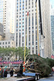 Rockefeller Center Christmas Tree Arrival. NEW YORK - NOVEMBER 12: The arrival and set up of the famous Rockefeller Center Christmas Tree in Rockefeller Center Royalty Free Stock Photo