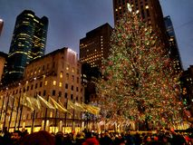 Rockefeller Center Christmas Tree. Christmas tree located at the Rockefeller Center Stock Photo