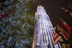 Rockefeller Center decorated for Christmas time in New York Stock Images