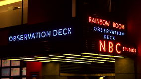 Rockefeller Center Entrance to the Observation deck and NBC Studios USA cityscapes stock video footage