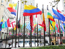 Rockefeller Center Flags. Colorful flags from differnet countries Royalty Free Stock Image
