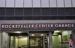 New York City, 2nd July: Rockefeller Center Garage signboard in Manhattan from New York City in United States stock photography