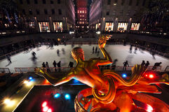 Rockefeller Center Ice Rank Stock Photo