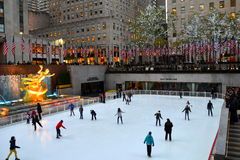 Rockefeller Center Ice skaters Stock Photo