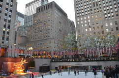 Rockefeller Center Ice skaters Stock Photos