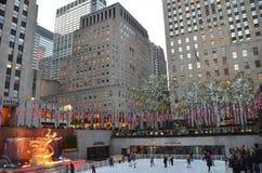 Rockefeller Center Ice skaters Stock Photos