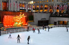 Rockefeller Center Ice skaters Stock Photography