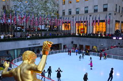 Rockefeller Center Ice skaters Royalty Free Stock Photo