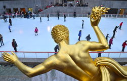 Rockefeller Center Ice skaters Royalty Free Stock Photography