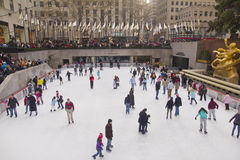 Rockefeller Center Ice Skating. Rockefeller Center Ice Skating, people Royalty Free Stock Images