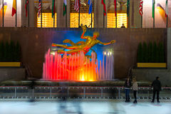 The Rockefeller center, New York. NEW YORK CITY - MARCH 31: The golden Prometheus statue at the Rockefeller center on March 31, 2012 in New York, NY. This Royalty Free Stock Photos