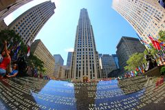 Rockefeller center in New York. A memorial plate with testament of Rockefeller. royalty free stock images